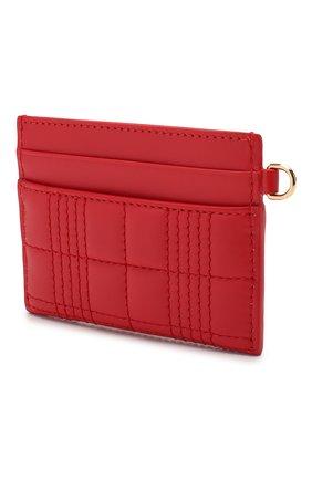 Женский кожаный футляр для кредитных карт BURBERRY красного цвета, арт. 8023347 | Фото 2