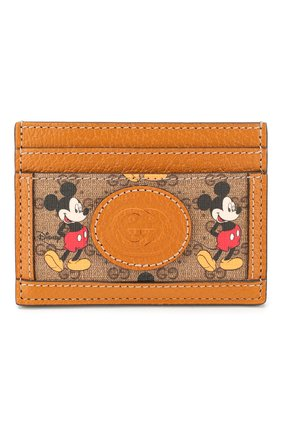 Женский футляр для кредитных карт disney x gucci GUCCI коричневого цвета, арт. 602535/HZCAM | Фото 1
