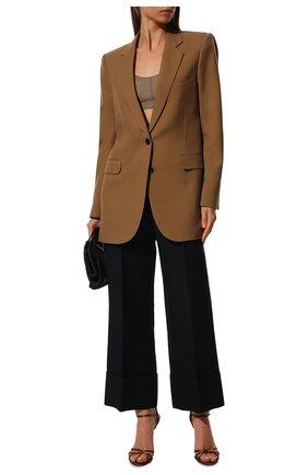 Женские брюки из смеси шерсти и шелка VALENTINO синего цвета, арт. TB3RB3901CF | Фото 2