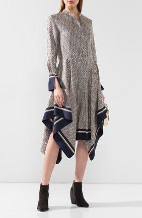 Женское шелковое платье CHLOÉ темно-синего цвета, арт. CHC20SR082350 | Фото 2