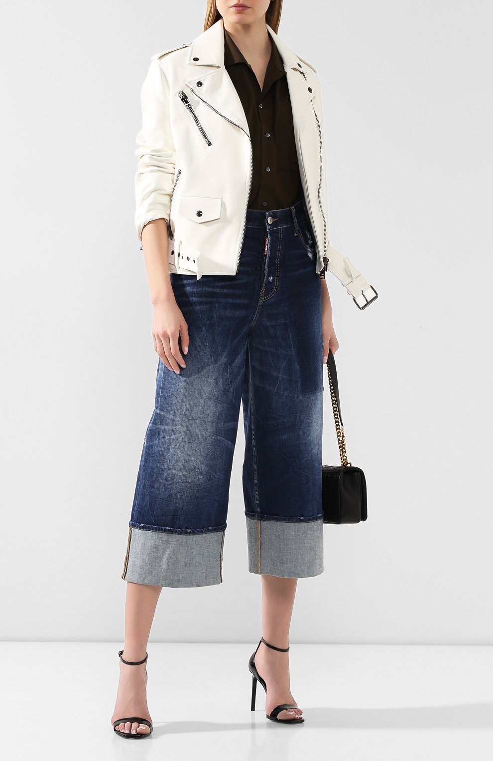 Женские джинсы с отворотами DSQUARED2 голубого цвета, арт. S75LB0255/S30663 | Фото 2