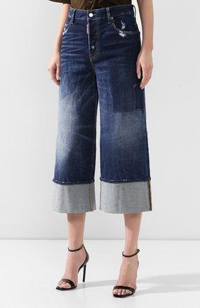 Женские джинсы с отворотами DSQUARED2 голубого цвета, арт. S75LB0255/S30663 | Фото 3