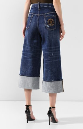 Женские джинсы с отворотами DSQUARED2 голубого цвета, арт. S75LB0255/S30663 | Фото 4