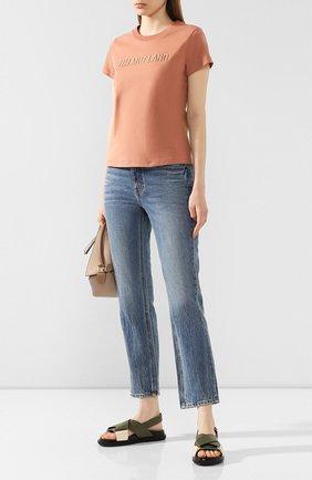 Женская хлопковая футболка HELMUT LANG бежевого цвета, арт. J06DW502 | Фото 2