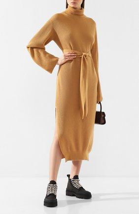 Женское платье с поясом NANUSHKA коричневого цвета, арт. CANAAN_T0FFEE_CASHMERE BLEND RIB   Фото 2