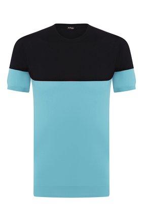 Мужской хлопковый джемпер KITON голубого цвета, арт. UK1035   Фото 1