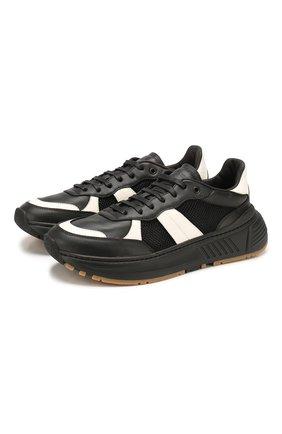 Мужские кожаные кроссовки BOTTEGA VENETA черного цвета, арт. 565646/VJE21 | Фото 1