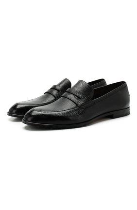 Мужские кожаные пенни-лоферы BALLY черного цвета, арт. WEBB-U/500 | Фото 1