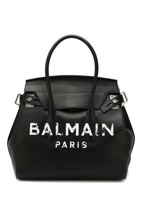 Мужская кожаная сумка-тоут BALMAIN черного цвета, арт. TM1S104/LVLA | Фото 1
