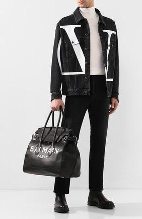 Мужская кожаная сумка-тоут BALMAIN черного цвета, арт. TM1S104/LVLA | Фото 2