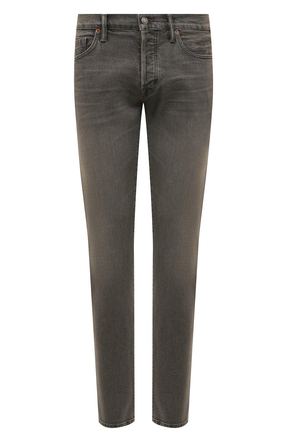Мужские джинсы TOM FORD серого цвета, арт. BUJ04/TFD002 | Фото 1 (Силуэт М (брюки): Прямые; Длина (брюки, джинсы): Стандартные; Материал внешний: Хлопок)