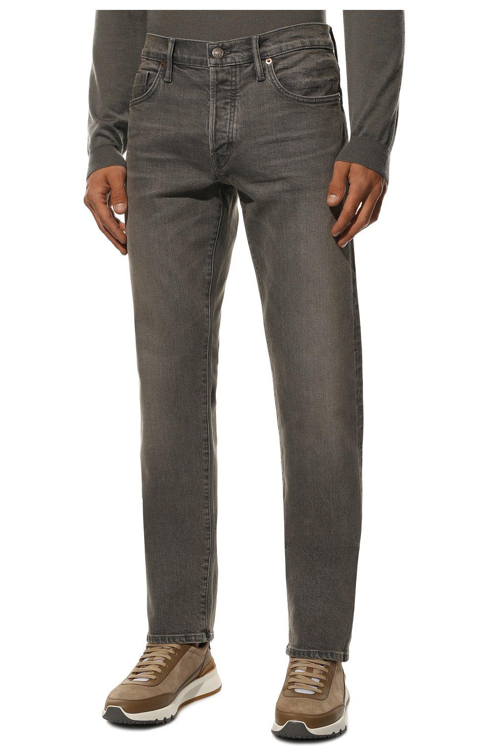 Мужские джинсы TOM FORD серого цвета, арт. BUJ04/TFD002 | Фото 3 (Силуэт М (брюки): Прямые; Длина (брюки, джинсы): Стандартные; Материал внешний: Хлопок)