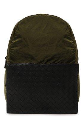 Мужской комбинированный рюкзак BOTTEGA VENETA хаки цвета, арт. 609854/VCQG1 | Фото 1