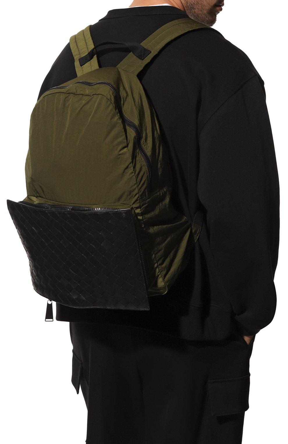 Мужской комбинированный рюкзак BOTTEGA VENETA хаки цвета, арт. 609854/VCQG1   Фото 2