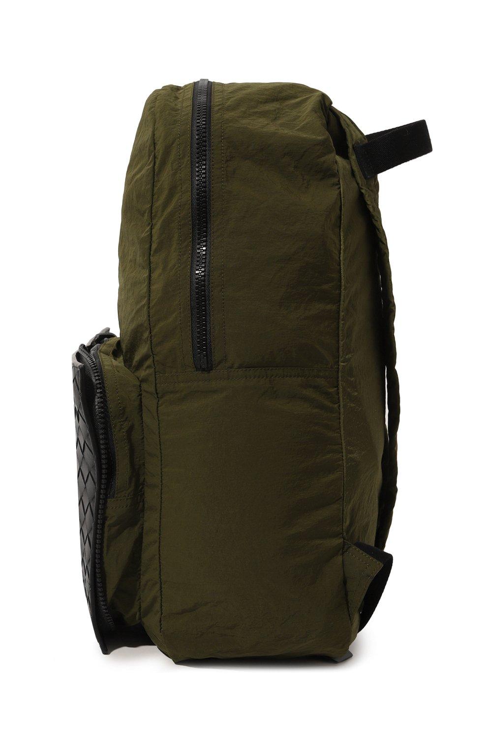 Мужской комбинированный рюкзак BOTTEGA VENETA хаки цвета, арт. 609854/VCQG1   Фото 4
