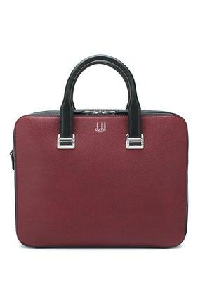 Мужская кожаная сумка для ноутбука DUNHILL бордового цвета, арт. DU20R3415CA   Фото 1