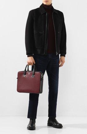 Мужская кожаная сумка для ноутбука DUNHILL бордового цвета, арт. DU20R3415CA   Фото 2