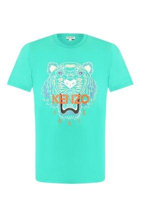 Мужская хлопковая футболка KENZO бирюзового цвета, арт. FA55TS0504YA   Фото 1
