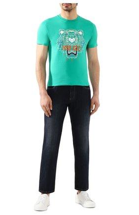 Мужская хлопковая футболка KENZO бирюзового цвета, арт. FA55TS0504YA   Фото 2