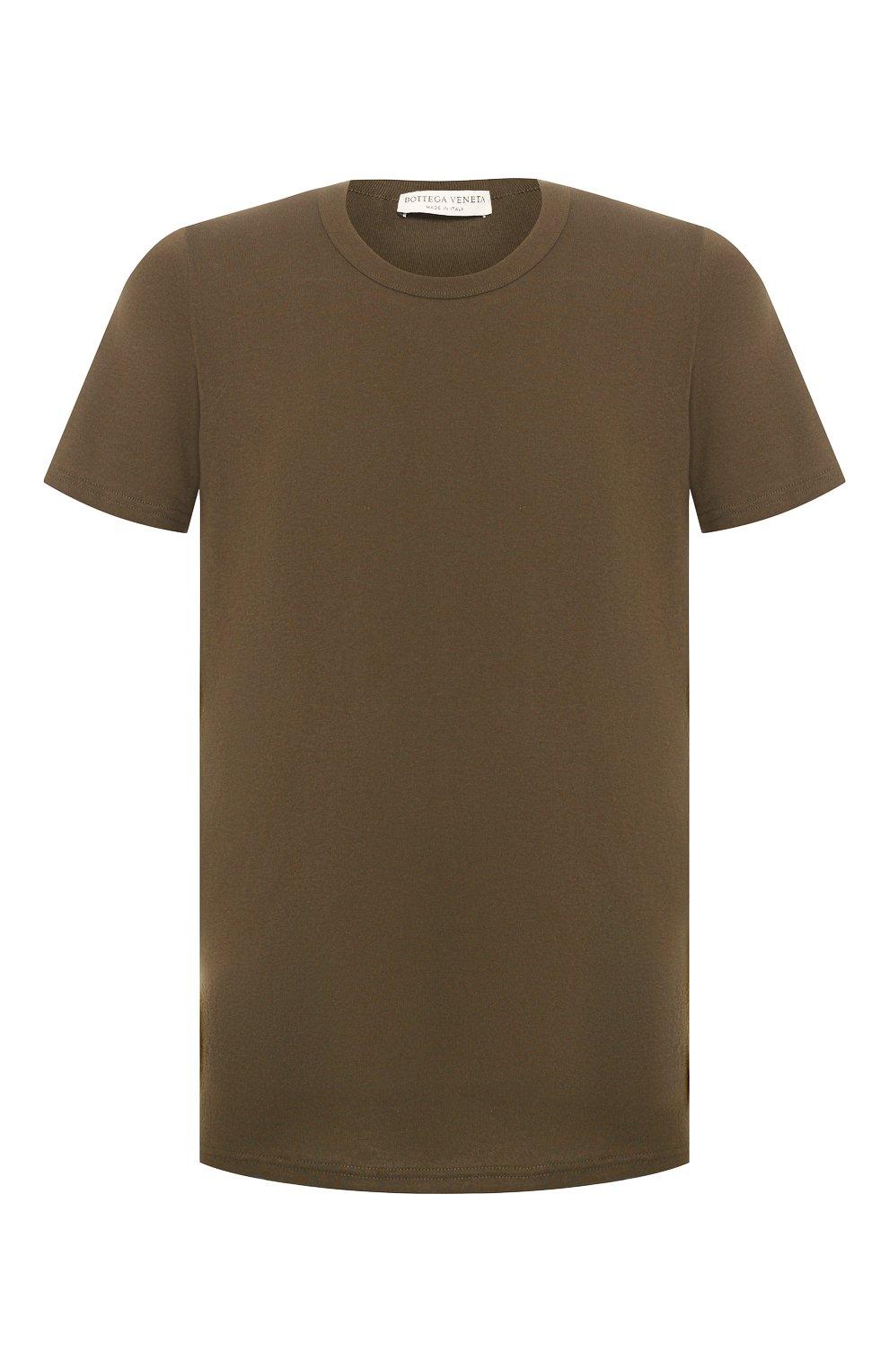 Мужская хлопковая футболка BOTTEGA VENETA хаки цвета, арт. 600852/VF2A0   Фото 1 (Принт: Без принта; Рукава: Короткие; Длина (для топов): Стандартные; Мужское Кросс-КТ: Футболка-одежда; Материал внешний: Хлопок; Стили: Кэжуэл)