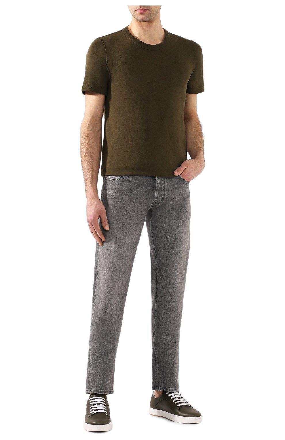 Мужская хлопковая футболка BOTTEGA VENETA хаки цвета, арт. 600852/VF2A0   Фото 2 (Принт: Без принта; Рукава: Короткие; Длина (для топов): Стандартные; Мужское Кросс-КТ: Футболка-одежда; Материал внешний: Хлопок; Стили: Кэжуэл)