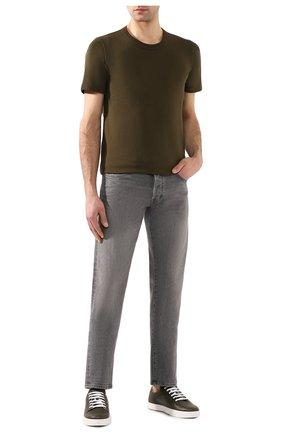 Мужская хлопковая футболка BOTTEGA VENETA хаки цвета, арт. 600852/VF2A0 | Фото 2
