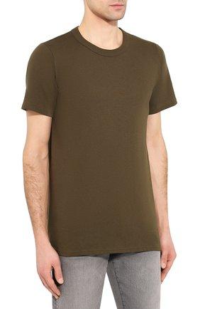Мужская хлопковая футболка BOTTEGA VENETA хаки цвета, арт. 600852/VF2A0   Фото 3 (Принт: Без принта; Рукава: Короткие; Длина (для топов): Стандартные; Мужское Кросс-КТ: Футболка-одежда; Материал внешний: Хлопок; Стили: Кэжуэл)
