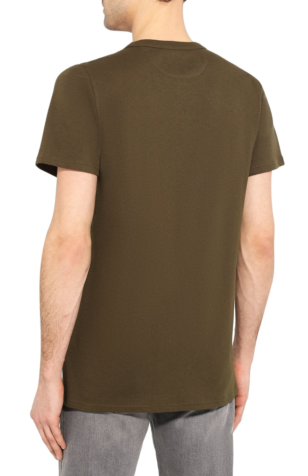 Мужская хлопковая футболка BOTTEGA VENETA хаки цвета, арт. 600852/VF2A0   Фото 4 (Принт: Без принта; Рукава: Короткие; Длина (для топов): Стандартные; Мужское Кросс-КТ: Футболка-одежда; Материал внешний: Хлопок; Стили: Кэжуэл)