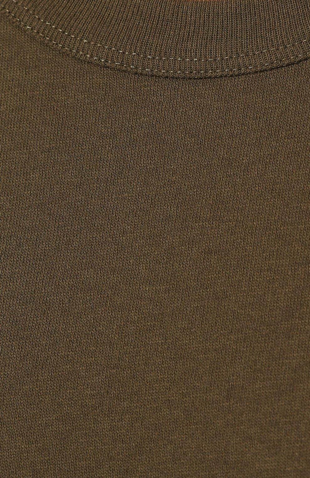 Мужская хлопковая футболка BOTTEGA VENETA хаки цвета, арт. 600852/VF2A0   Фото 5 (Принт: Без принта; Рукава: Короткие; Длина (для топов): Стандартные; Мужское Кросс-КТ: Футболка-одежда; Материал внешний: Хлопок; Стили: Кэжуэл)