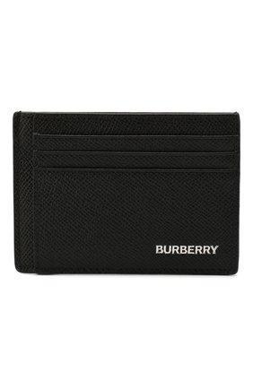 Мужской кожаный футляр для кредитных карт BURBERRY черного цвета, арт. 8014665 | Фото 1