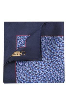 Мужской шелковый платок ZILLI синего цвета, арт. 50715/HANDKERCHIEFS | Фото 1