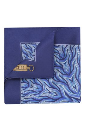 Мужской шелковый платок ZILLI синего цвета, арт. 50709/HANDKERCHIEFS | Фото 1