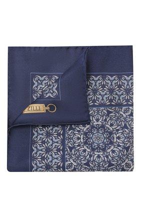 Мужской шелковый платок ZILLI темно-синего цвета, арт. 50703/HANDKERCHIEFS | Фото 1