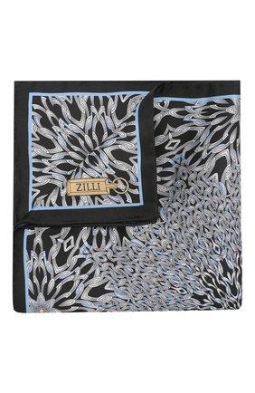 Мужской шелковый платок ZILLI черного цвета, арт. 50700/HANDKERCHIEFS | Фото 1
