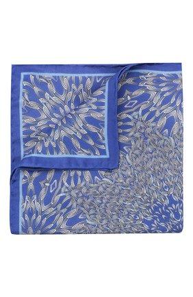 Мужской шелковый платок ZILLI синего цвета, арт. 50700/HANDKERCHIEFS | Фото 1