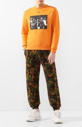 Мужской хлопковый свитшот OFF-WHITE оранжевого цвета, арт. 0MBA025R20E300151910   Фото 2