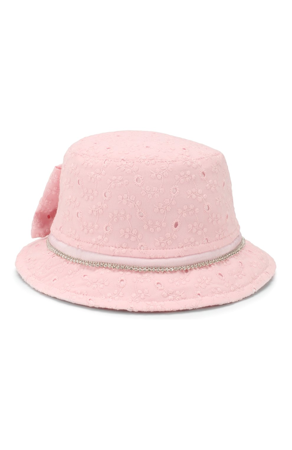 Детская панама MONNALISA розового цвета, арт. 395015 | Фото 1