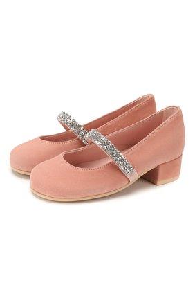 Детские замшевые туфли PRETTY BALLERINAS бежевого цвета, арт. 48.788/ANGELIS | Фото 1