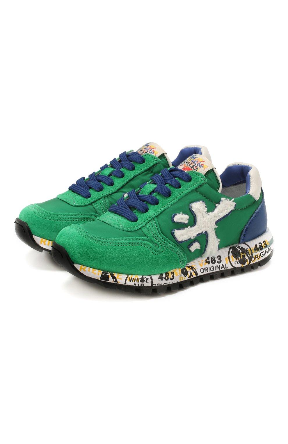 Детские кроссовки PREMIATA WILL BE зеленого цвета, арт. MICK/1351/CHILD | Фото 1 (Материал внешний: Текстиль; Материал внутренний: Натуральная кожа)