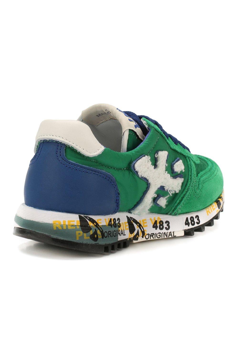 Детские кроссовки PREMIATA WILL BE зеленого цвета, арт. MICK/1351/CHILD | Фото 3 (Материал внешний: Текстиль; Материал внутренний: Натуральная кожа)