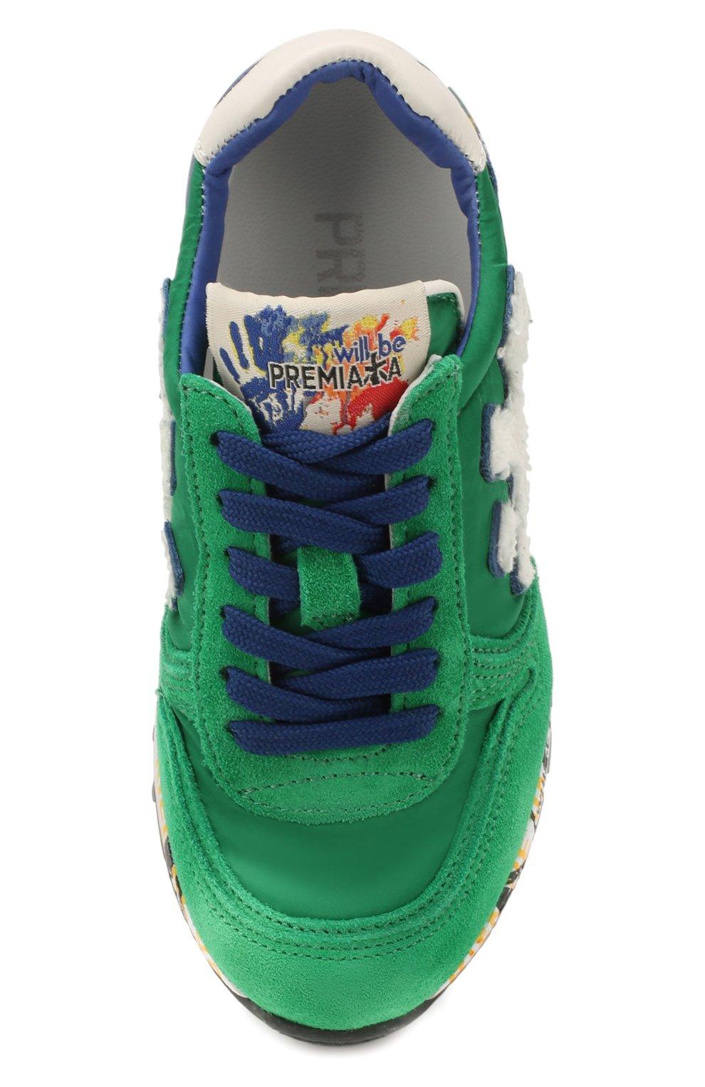 Детские кроссовки PREMIATA WILL BE зеленого цвета, арт. MICK/1351/CHILD | Фото 4 (Материал внешний: Текстиль; Материал внутренний: Натуральная кожа)