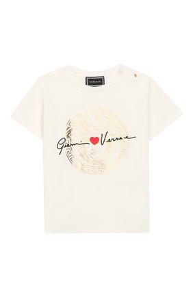 Детский хлопковая футболка VERSACE белого цвета, арт. YB000136/YA00019 | Фото 1