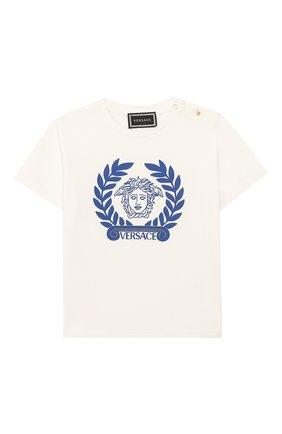Детский хлопковая футболка VERSACE белого цвета, арт. YB000145/YA00019 | Фото 1