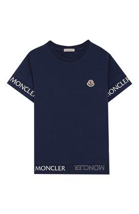Детская хлопковая футболка MONCLER синего цвета, арт. F1-954-8C705-10-8790A/8-10A | Фото 1