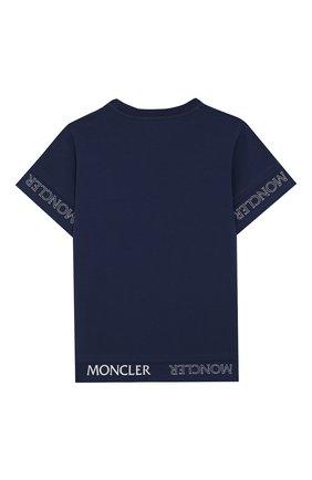 Детская хлопковая футболка MONCLER синего цвета, арт. F1-954-8C705-10-8790A/8-10A | Фото 2