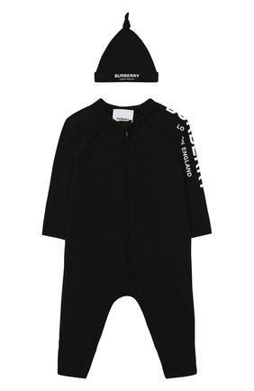 Детский комплект из комбинезона и шапки BURBERRY черного цвета, арт. 8025501 | Фото 1