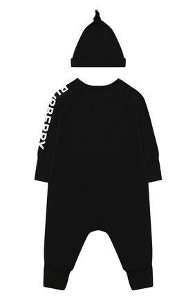 Детский комплект из комбинезона и шапки BURBERRY черного цвета, арт. 8025501 | Фото 2