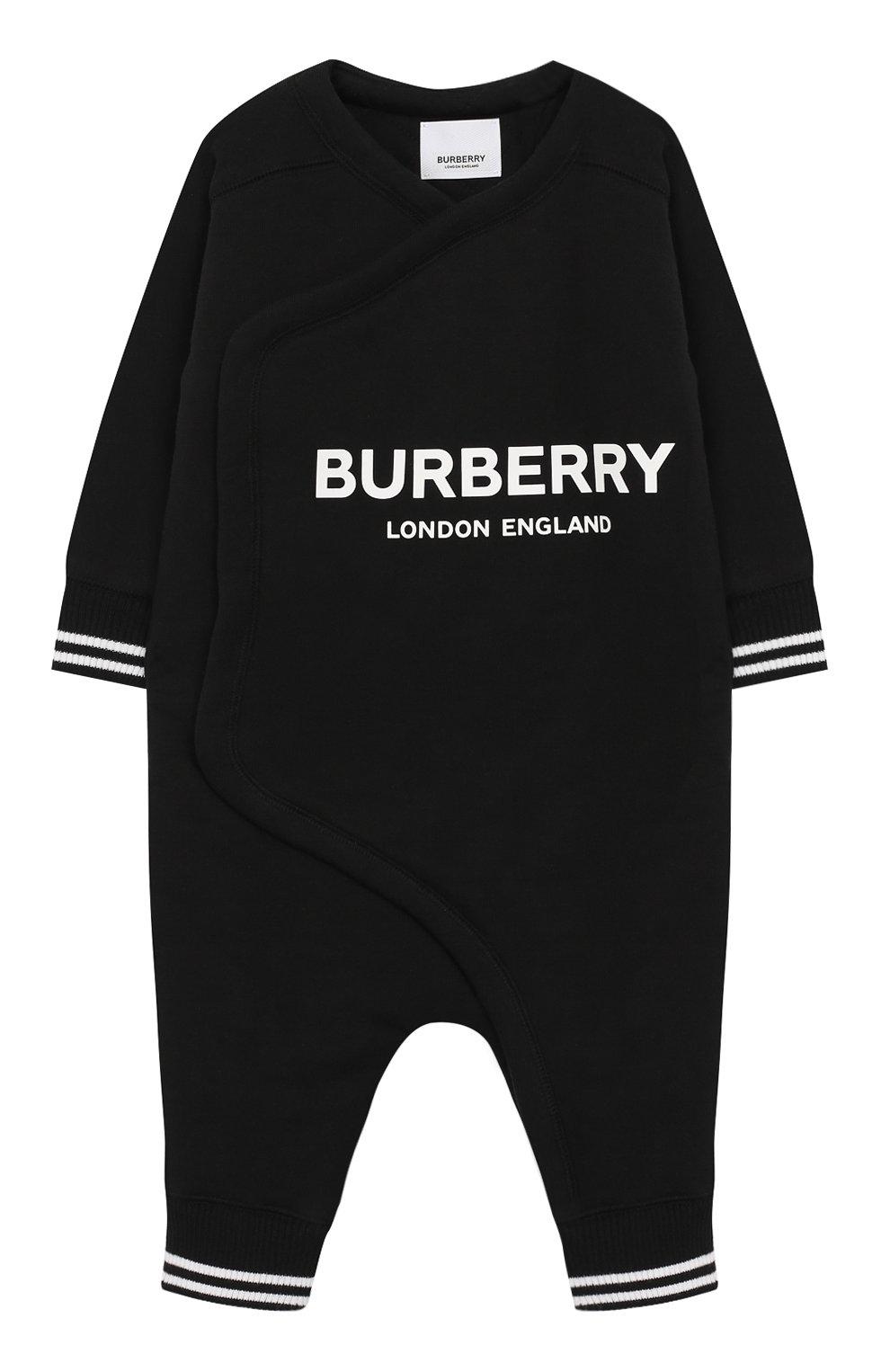 Детский хлопковый комбинезон BURBERRY черного цвета, арт. 8025351 | Фото 1