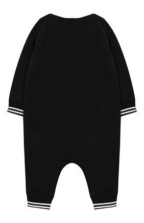Детский хлопковый комбинезон BURBERRY черного цвета, арт. 8025351 | Фото 2