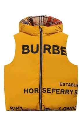 Детский пуховый жилет с капюшоном BURBERRY оранжевого цвета, арт. 8022602 | Фото 1